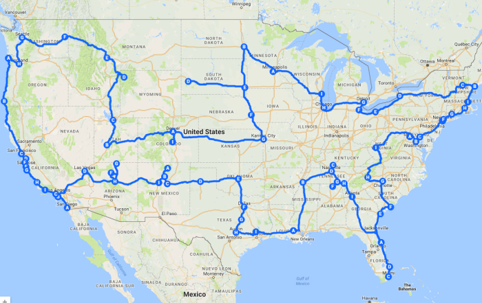 Pretenniless USA Road Trip Route Map